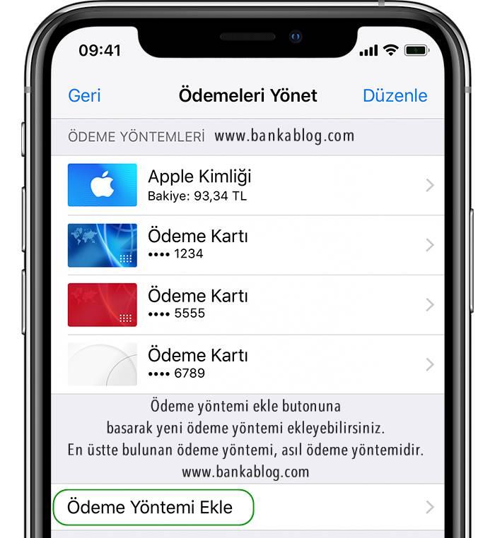 app store kredi kartı ekleme